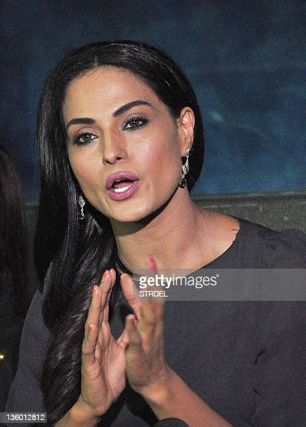 Pakistani actress Veena Malik holds a press conference to explain the controversy surrounding her missing person status in Mumbai on December 19 2011...