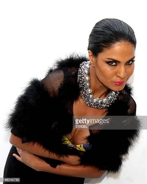 Pakistani actress Veena Malik poses during a promotional photo shoot in Mumbai on June 12 2012 AFP PHOTO/STR