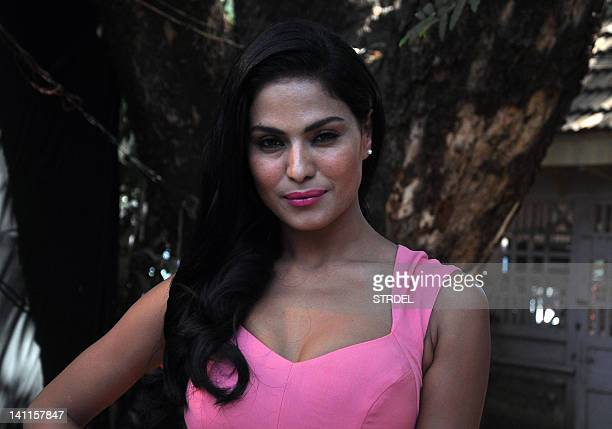 Pakistani actress Veena Malik poses during a race event organised by CN Wadia Gold Cup million powered by Gitanjali in Mumbai on March 11 2012 AFP...