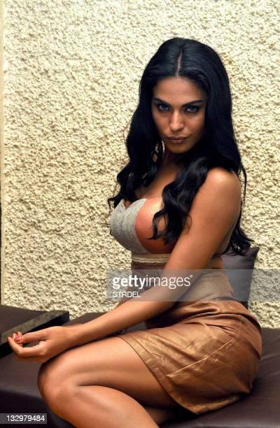 "Pakistani actress Veena Malik poses on the set of the forthcoming Bollywood Hindi film ""All U needLove"" directed by Atul Garg in Mumbai late November..."