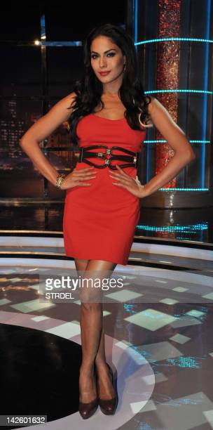 Pakistani actress Veena Malik poses on the set of the new television Show ''Movers and Shakers'' in Mumbai late April 8 2012 AFP PHOTO/STR
