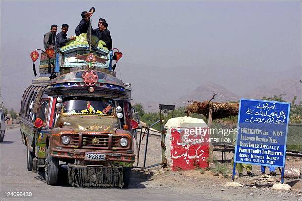 Pakistani Afghan border in Torkham Pakistan on September 17 2001 Khyber Pass The Khyber Riffles Agency enters the tribal zone on the road to the...