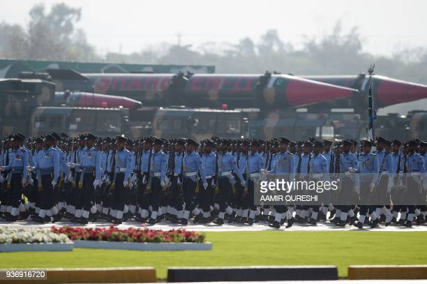 Pakistani Air Force soldiers march past missiles during the Pakistan Day military parade in Islamabad on March 23 2018 Pakistan National Day...