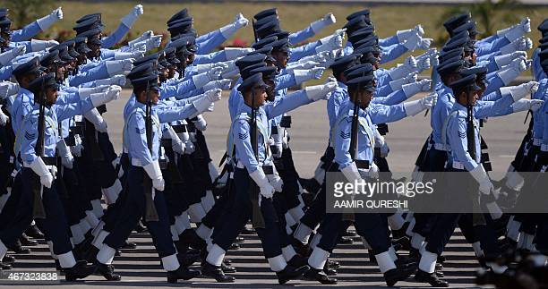Pakistani Air Force troops march during the Pakistan Day military parade in Islamabad on March 23 2015 Pakistan held its first national day military...
