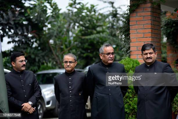 Pakistani Ambassador to Nepal Mazhar Javed and other officials attend during a special programme held on the eve of 71st Independence Day of Pakistan...