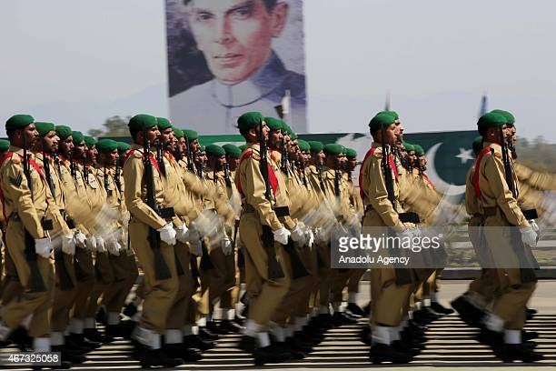 Pakistani armed forces march during the Pakistan Day parade in Islamabad on March 23 2015 Pakistan holds its first national day military parade after...