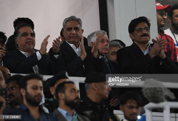 Pakistani Army Chief General Qamar Javed Bajwa and other officials watch the final Twenty20 Pakistan Super League at the National Cricket Stadium in...