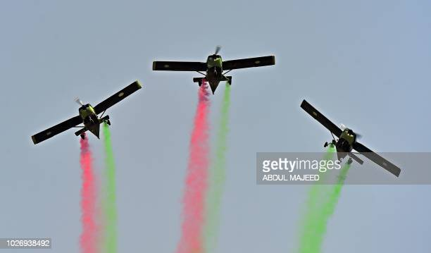 Pakistani Army planes take part in a drill ahead of Pakistan's Defence Day in Peshawar on September 5 2018 Pakistan celebrate Defence Day on...
