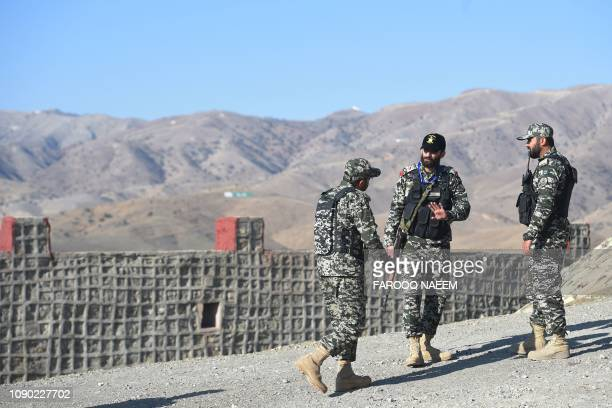 Pakistani army soldier stand guard on a border terminal in Ghulam Khan a town in North Waziristan on the border between Pakistan and Afghanistan on...