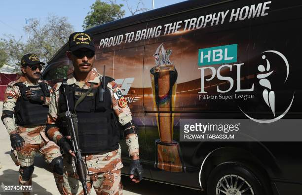 Pakistani army soldiers patrol outside the National Cricket Stadium in Karachi on March 24 ahead of the Pakistan Super League final Peshawar Zalmi vs...