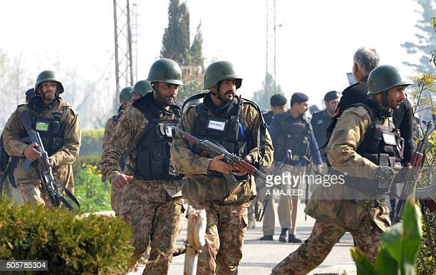 Pakistani army soldiers take part of search operation at the Bacha Khan university following an attack by militants in Charsadda about 50 kilometres...