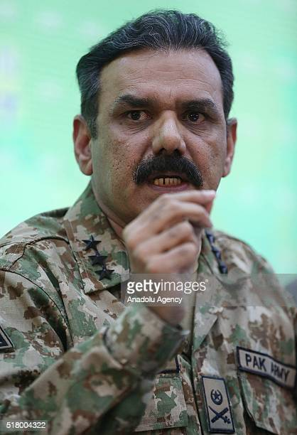 Pakistani Army Spokesman Lieutenant General Asim Saleem Bajwa holds a press conference at the Building of Ministry of Information and Broadcasting in...