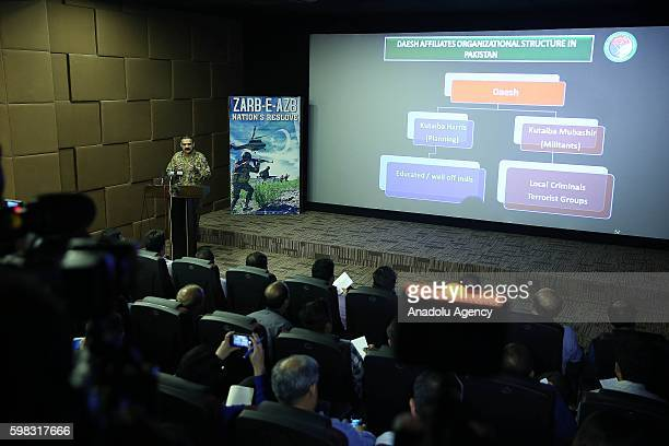 Pakistani Army Spokesman Lieutenant General Asim Saleem Bajwa holds a press conference at the Building Inter Services Public Relations in Rawalpindi...