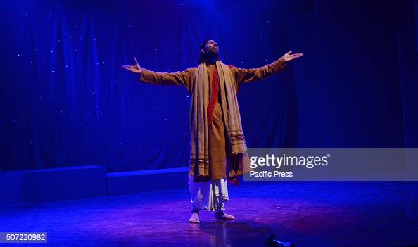 Pakistani artist performs on the stage during a drama titled