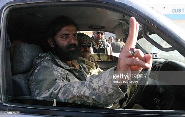 Pakistani Baluch nationalist leader Shahzain Bugti the grandson of slain Baluch leader Nawab Akbar Khan Bugti gestures a victory sign before his...