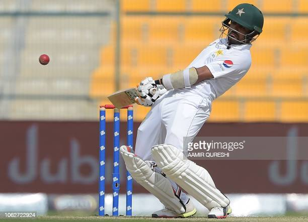 Pakistani batsman Babar Azam avoids the ball during the 2nd day of the first Test cricket match between Pakistan and New Zealand at the Sheikh Zayed...