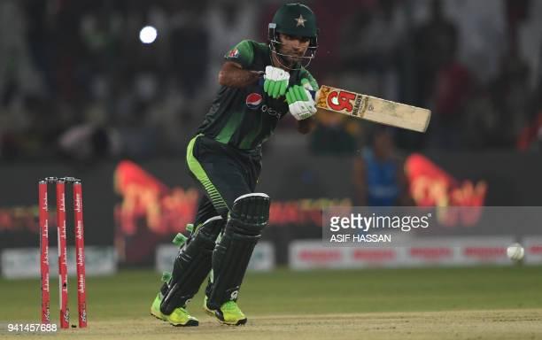 Pakistani batsman Fakhar Zaman plays a shot during the third and final Twenty20 International cricket match between Pakistan and West Indies at the...