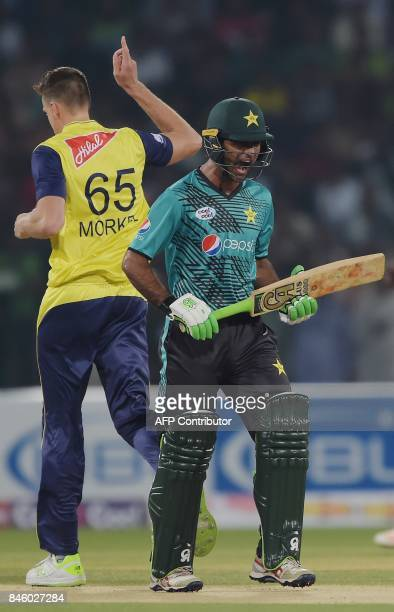 Pakistani batsman Fakhar Zaman reacts after his dismissal by World XI bowler Morne Morkel during the first Twenty20 international match between the...