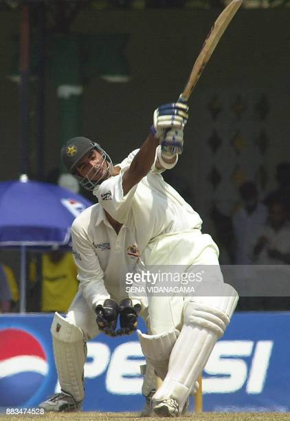 Pakistani batsman Imran Nazir plays a lofted shot for four during the 4th day's play of the first cricket test match between Australia and Pakistan...