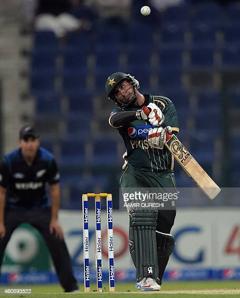 Pakistani batsman Nasir Jamshed avoids a bouncer during the fourth daynight international match between Pakistan and New Zealand at the Zayed...
