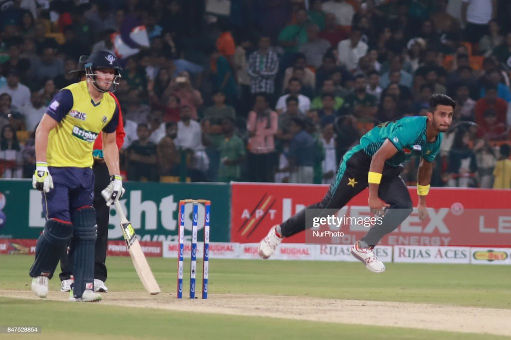 Pakistani bowler Hassan Ali delivers the ball during the third and final Twenty20 International match between the World XI and Pakistan at the...