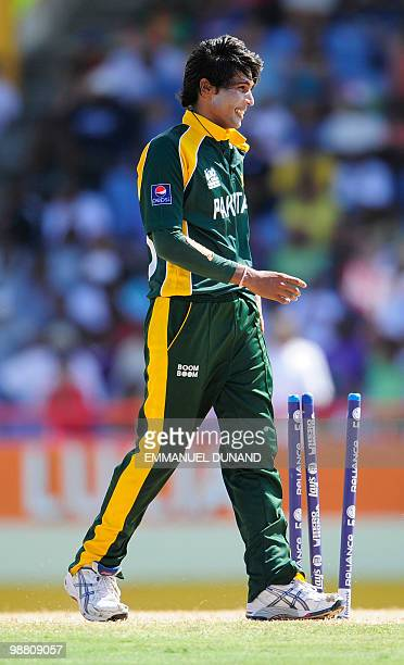 Pakistani bowler Mohammad Aamer celebrates after taking the wicket of Australian batsman Mitchell Johnson during the ICC World Twenty20 Group A match...
