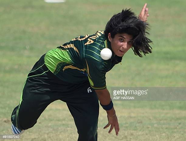 Pakistani bowler Sania Khan delivers the ball during the second and final women's One Day International cricket match between Pakistan and Bangladesh...
