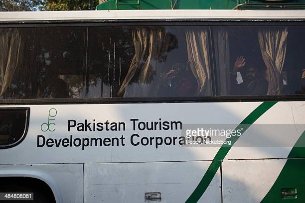 Pakistani bus crosses the IndiaPakistan border February 20 2014 in Punjab at Wagah India