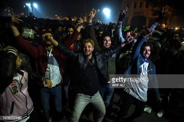 Pakistani celebrate during New Year celebrations in Lahore on December 31 2018