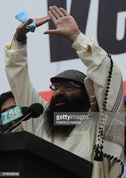 Pakistani chief of Hizbul Mujahideen Syed Salahuddin addresses a protest against killings in Indianadministered Kashmir in Islamabad on July 24 2016...