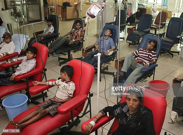 Pakistani children affected by Thalassemia being treated by blood transfusion at Fatmeed and Sundas Foundation Center as the world observed World...