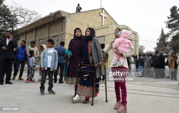 A Pakistani Christian survivor of an attack on a church leaves after attending Christmas Day mass in Quetta on December 25 2017 A suicide bomb attack...
