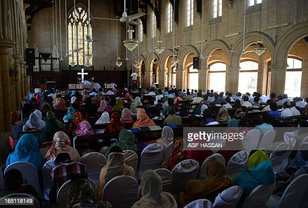 Pakistani Christians attend an Easter Mass at a church in Karachi on March 31 2013 Pakistan is overwhelmingly Muslim and at around two percent of the...