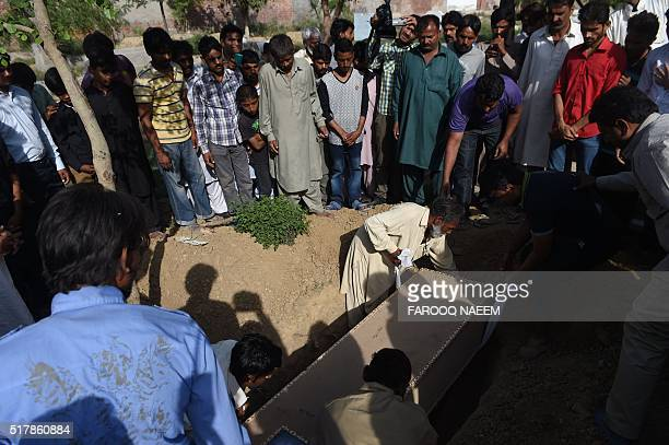 Pakistani Christians bury a suicide blast victim during a funeral ceremony in Lahore on March 28 2016 The worst fears of Pakistan's Christians came...