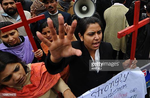 Pakistani Christians mourn the death of slain Pakistani minorities minister Shahbaz Bhatti during a protest in Lahore on March 2 2011 Gunmen shot...