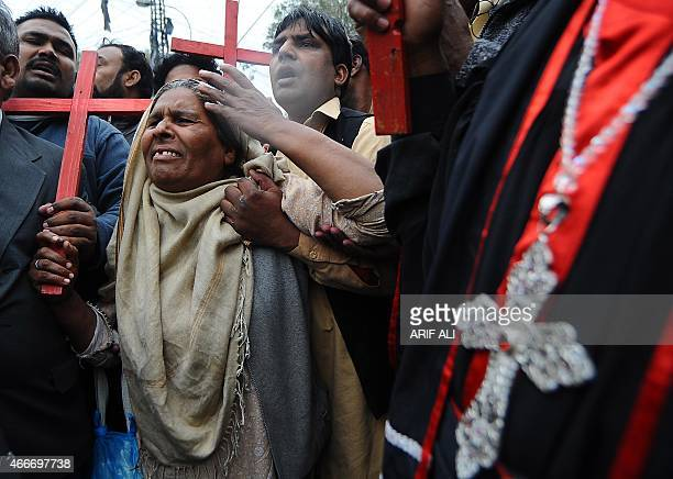 Pakistani Christians mourn the death of slain Pakistan's minorities minister Shahbaz Bhatti during a protest in Lahore on March 2 2011 Gunmen shot...