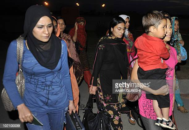 Pakistani citizens evacuated from Kyrgyzstan arrive at Chaklala military airbase in Rawalpindi on June 15, 2010. Pakistan on June 15 flew home more...