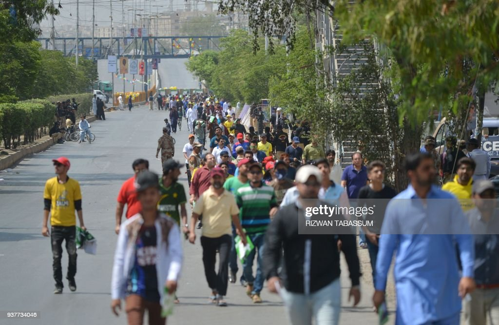 Pakistani Cricket Fans Arrive In The National Cricket Stadium In Karachi On March 25 2018
