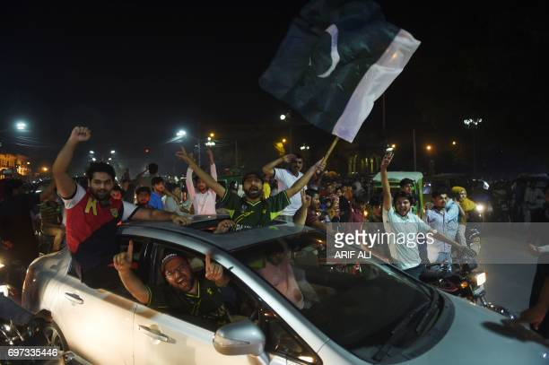 Pakistani cricket fans celebrate winning of the International Cricket Championship Champions Trophy final cricket match against India on June 18 2017...