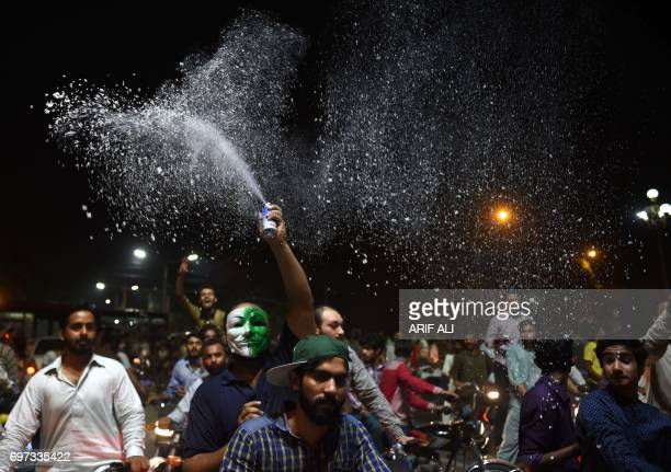 Pakistani cricket fans celebrate winning the International Cricket Championship Champions Trophy final cricket match against India on June 18 2017 in...
