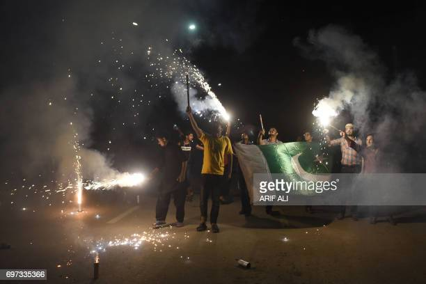Pakistani cricket fans celebrates winning of the International Cricket Championship Champions Trophy final cricket match against India on June 18...
