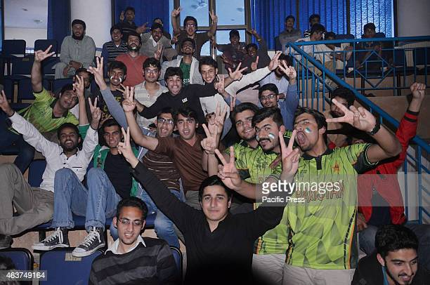 Pakistani Cricket student fans of University of Engineering and Technology watch the live broadcast of the Cricket World Cup match between Pakistan...