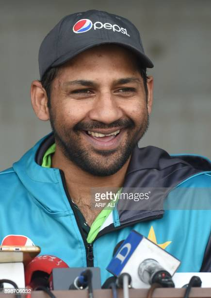 Pakistani cricket team captain Sarfraz Ahmed addresses a press conference in Lahore on December 26 2017 Pakistan still have bowlers who can put...
