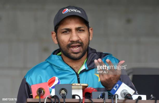 Pakistani cricket team captain Sarfraz Ahmed gestures during a press conference in Lahore on December 26 2017 Pakistan still have bowlers who can put...