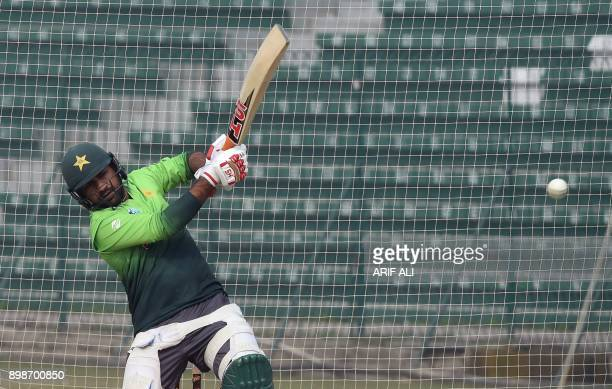 Pakistani cricket team captain Sarfraz Ahmed plays a shot during a practice in Lahore on December 26 2017 Pakistan still have bowlers who can put...