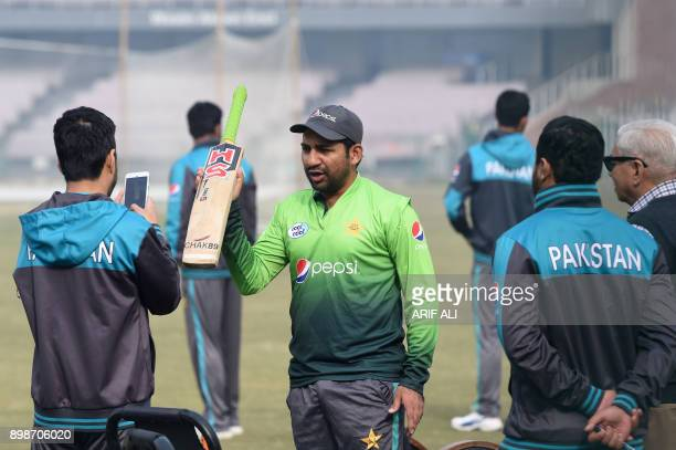 Pakistani cricket team captain Sarfraz Ahmed takes part in a practice session in Lahore on December 26 2017 Pakistan still have bowlers who can put...