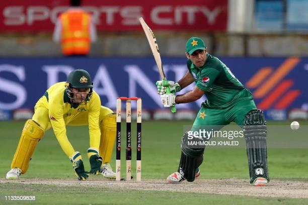 Pakistani cricketer Abid Ali plays a shot during the fourth one day international cricket match between Pakistan and Australia at Dubai International...