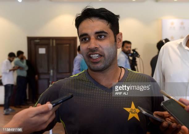 Pakistani cricketer Abid Ali speaks to media at the Gaddafi Cricket Stadium in Lahore on April 21 2019 Pakistan's newly selected opener Abid Ali on...
