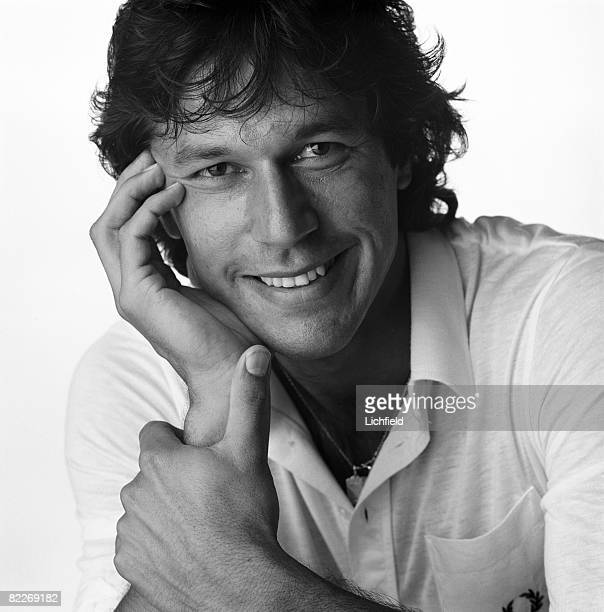 Pakistani cricketer and politician Imran Khan photographed in the Studio on 11th August 1982. .