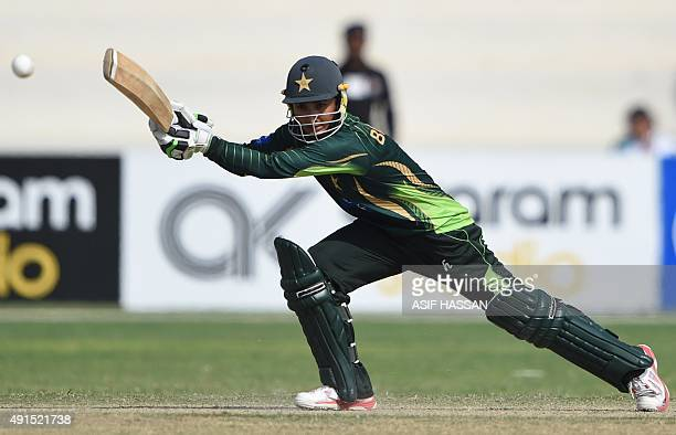 Pakistani cricketer Bismah Maroof plays a shot during the second and final women's One Day International cricket match between Pakistan and...